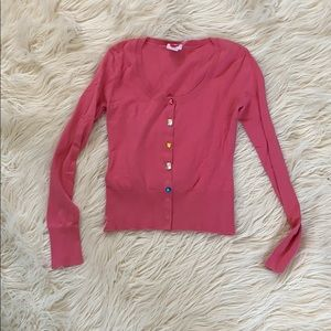 Pink cardigan with gem snaps size small